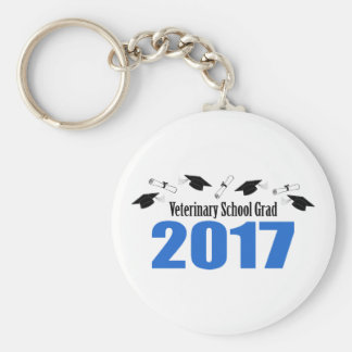Veterinary Grad 2017 Caps And Diplomas (Blue) Basic Round Button Keychain