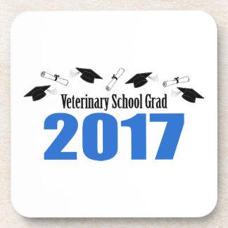 Veterinary Grad 2017 Caps And Diplomas (Blue) Coaster