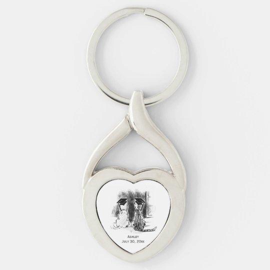 Veterinary Graduation Dog and Cat, Heart Keychain