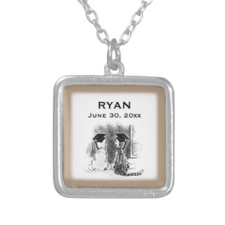 Veterinary Graduation, Dog & Cat, Square Gifts Silver Plated Necklace