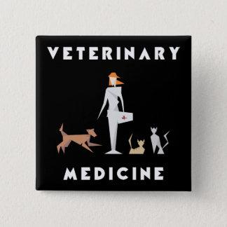 Veterinary Medicine Geometric Woman 2 Inch Square Button