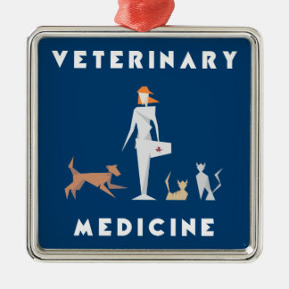 Veterinary Medicine Geometric Woman Metal Ornament