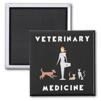 Veterinary Medicine Geometric Woman Square Magnet
