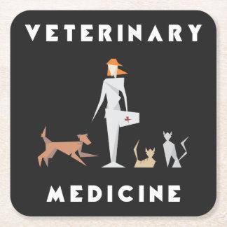 Veterinary Medicine Geometric Woman Square Paper Coaster