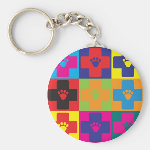 Veterinary Medicine Pop Art Key Chain