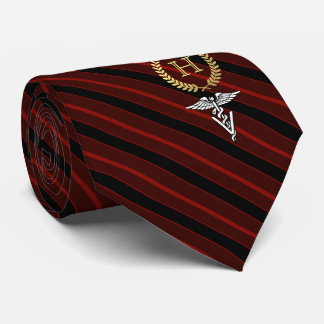 Veterinary Professional Framed Monogram Red Tie