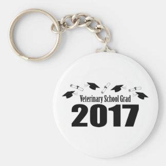 Veterinary School Grad 2017 Caps & Diplomas (Black Basic Round Button Keychain