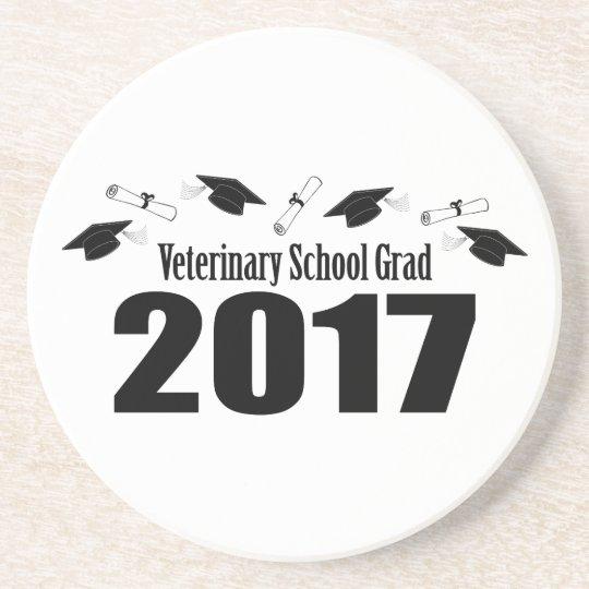 Veterinary School Grad 2017 Caps & Diplomas (Black Coaster