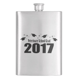Veterinary School Grad 2017 Caps & Diplomas (Black Flask