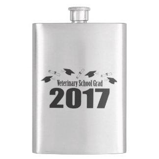 Veterinary School Grad 2017 Caps & Diplomas (Black Hip Flask