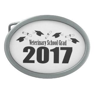 Veterinary School Grad 2017 Caps & Diplomas (Black Oval Belt Buckles