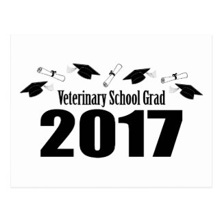 Veterinary School Grad 2017 Caps & Diplomas (Black Postcard