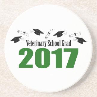 Veterinary School Grad 2017 Caps & Diplomas (Green Beverage Coasters