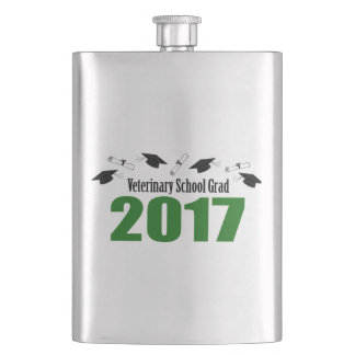 Veterinary School Grad 2017 Caps & Diplomas (Green Hip Flask