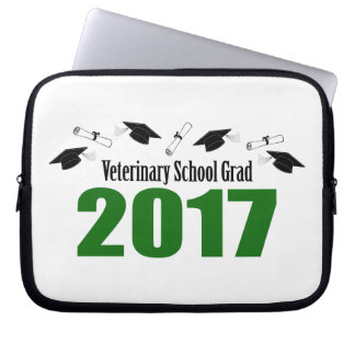 Veterinary School Grad 2017 Caps & Diplomas (Green Laptop Sleeve