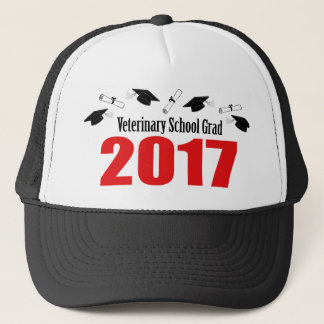 Veterinary School Grad 2017 Caps & Diplomas (Red)