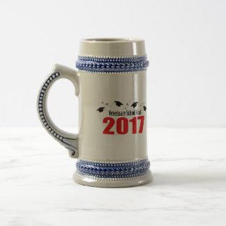 Veterinary School Grad 2017 Caps & Diplomas (Red) Beer Stein
