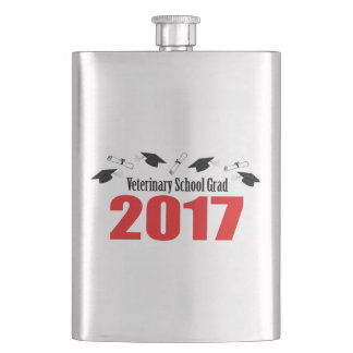 Veterinary School Grad 2017 Caps & Diplomas (Red) Flask