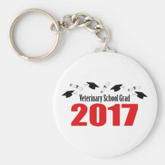 Veterinary School Grad 2017 Caps & Diplomas (Red) Keychain