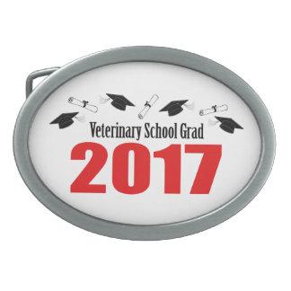 Veterinary School Grad 2017 Caps & Diplomas (Red) Oval Belt Buckles