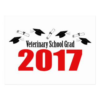 Veterinary School Grad 2017 Caps & Diplomas (Red) Postcard