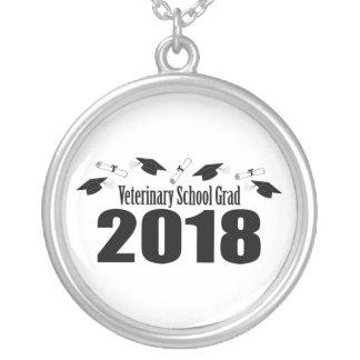 Veterinary School Grad 2018 Caps & Diplomas (Black Silver Plated Necklace