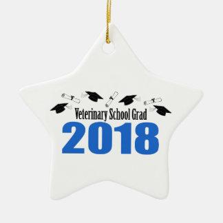 Veterinary School Grad 2018 Caps & Diplomas (Blue) Ceramic Ornament