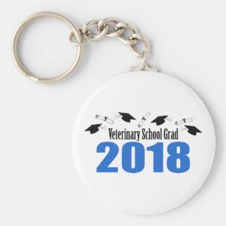 Veterinary School Grad 2018 Caps & Diplomas (Blue) Keychain