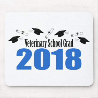 Veterinary School Grad 2018 Caps & Diplomas (Blue) Mouse Pad