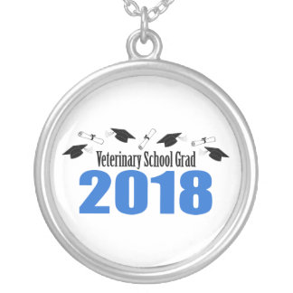 Veterinary School Grad 2018 Caps & Diplomas (Blue) Silver Plated Necklace