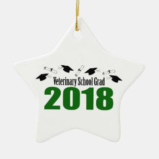 Veterinary School Grad 2018 Caps & Diplomas (Green Ceramic Ornament