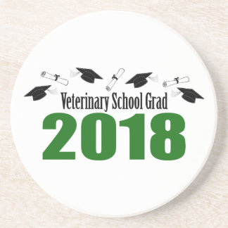 Veterinary School Grad 2018 Caps & Diplomas (Green Coaster