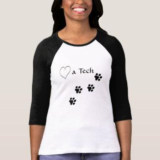 Veterinary Techincian-Love a Tech-Black Paw Prints T-Shirt