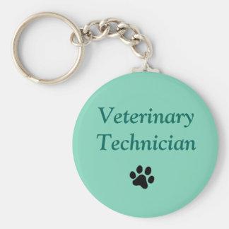Veterinary Technician/Black Paw Print/Green Keychain