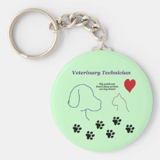 Veterinary Technician - Paw Prints on My Heart Basic Round Button Keychain