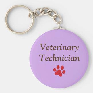 Veterinary Technician/Red Paw Print/Purple Keychain