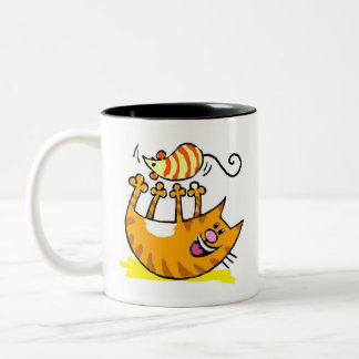 Veto Kitty With Mouse Two-Tone Coffee Mug