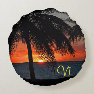 VI Caribbean Sunset Round Pillow