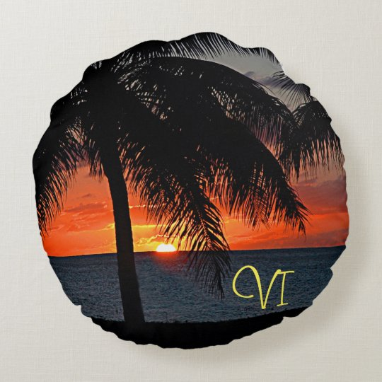 VI Caribbean Sunset Round Pillow