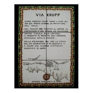 via Krupp ceramic tile, Capri - Italy Postcard