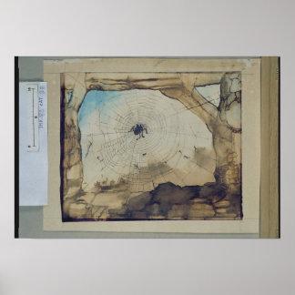 Vianden par une toile de l'araignée poster
