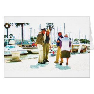 Viareggio Quayside Encounter, Blank Greeting Card