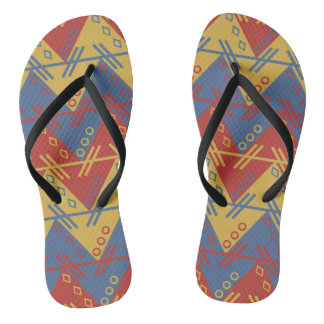 Vibrant 60's retro geometric pattern flip flops