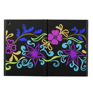 Vibrant abstract flower drawing on black iPad air case