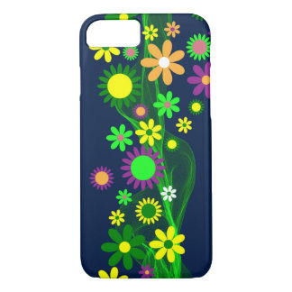 Vibrant Abstract Flowers on Navy Blue iPhone 8/7 Case