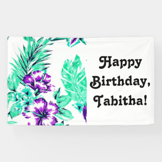 Vibrant Abstract Purple and Teal Tropical Flowers Banner
