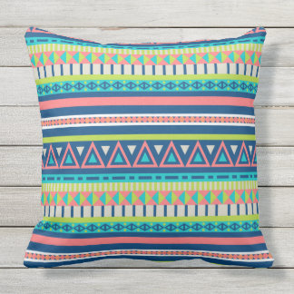 Vibrant abstract tribal pattern outdoor pillow