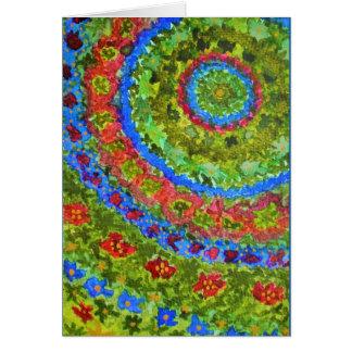 Vibrant abstract watercolor fractal garden card