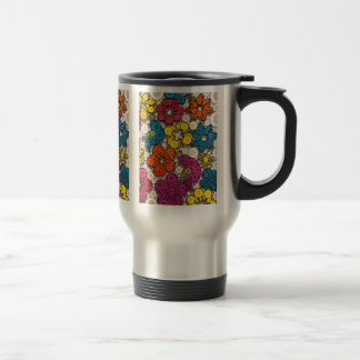 Vibrant and Bold Flowers with Circles 15 Oz Stainless Steel Travel Mug