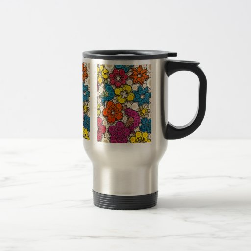 Vibrant and Bold Flowers with Circles Mug